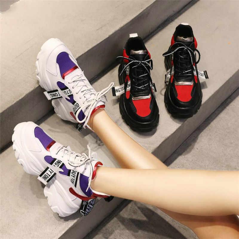 2019 Lente Nieuwe Lederen vrouwen Platform Chunky Sneakers Mode Vrouwen Platte Dikke Zool Schoenen Vrouw Vader Schoeisel