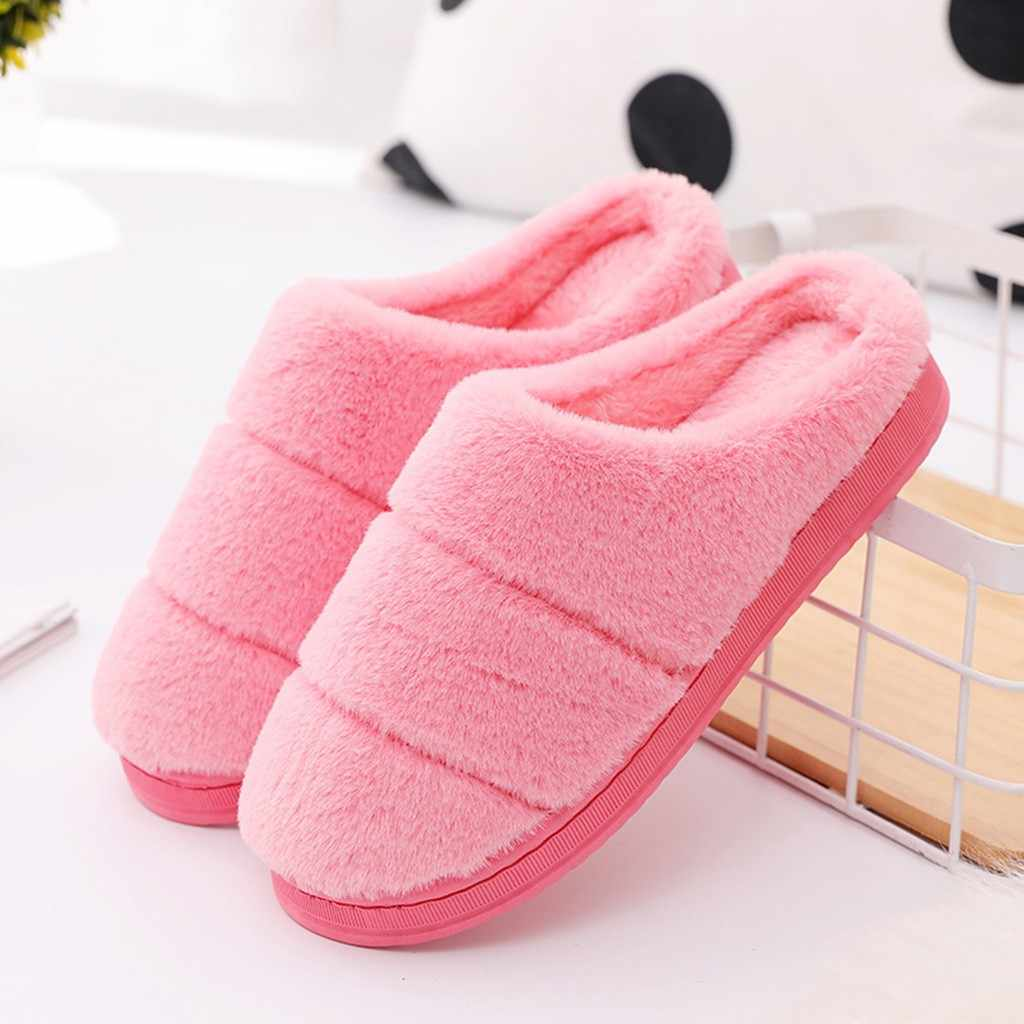 Cute Winter Home Slippers For Couple Casual Striped Flock Warm Non-slip Floor Home Slippers Indoor Shoes zapatos de mujer