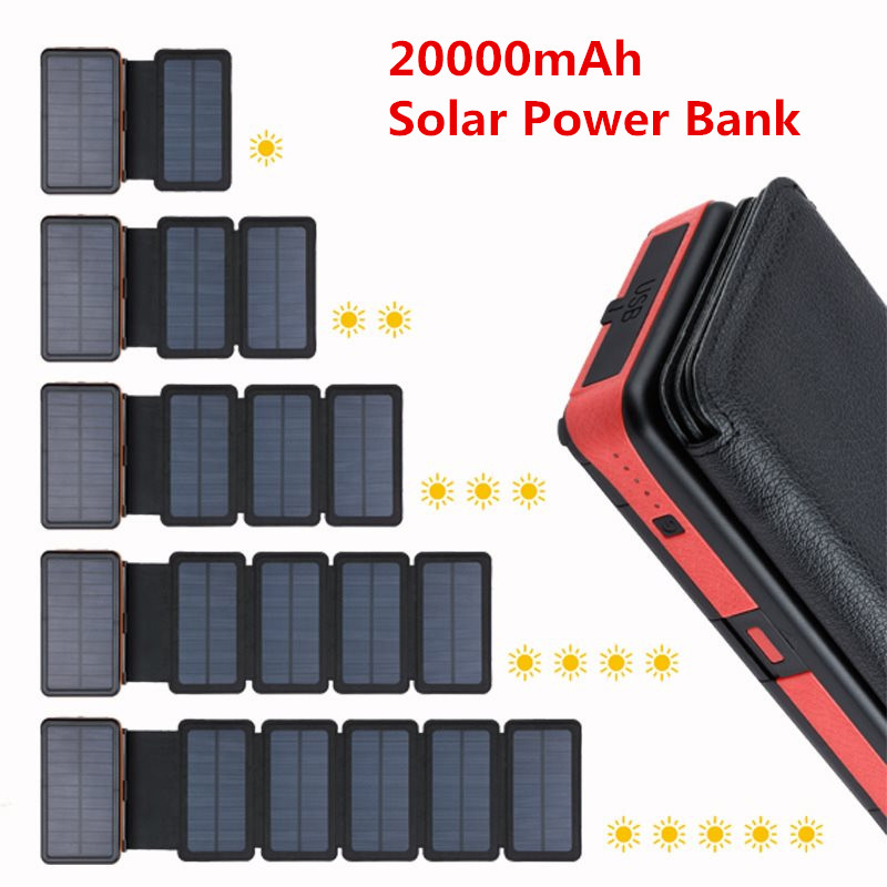 Newest <font><b>Solar</b></font> <font><b>Power</b></font> <font><b>Bank</b></font> <font><b>20000mAh</b></font> Dual USB <font><b>External</b></font> <font><b>Battery</b></font> Waterproof Polymer <font><b>Battery</b></font> <font><b>Solar</b></font> Charger Outdoor Light Lamp Powerbank image