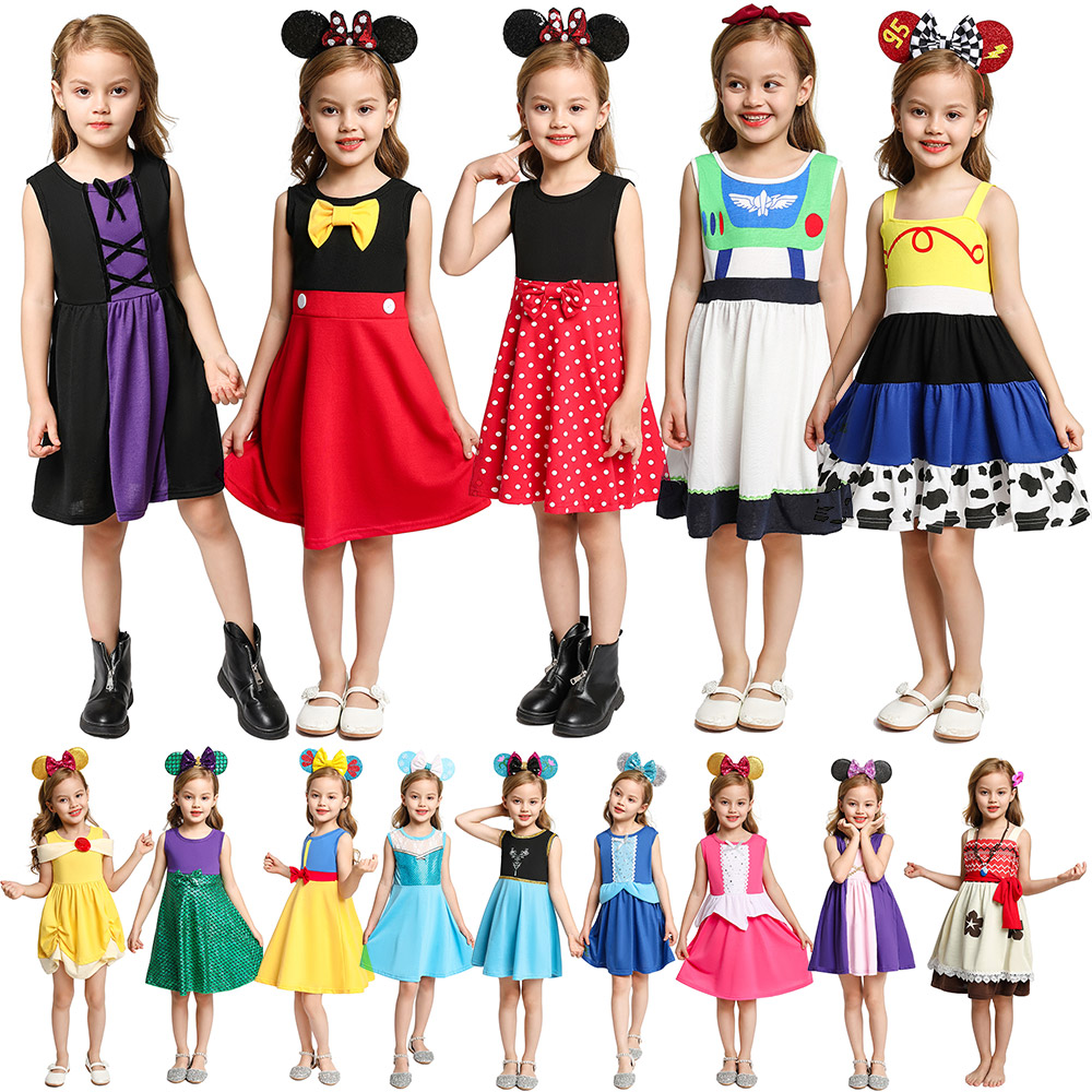 Kid Summer Casual Clothing Baby Girl Minnie Belle Wonder Woman Snow White Rapunzel Moana Elsa Jasmine Elena Princess Party Dress