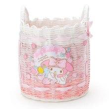 Bonito dos desenhos animados pequenas estrelas gêmeas minha melodia plástico tecido rattan cesta de armazenamento cosméticos artigos diversos mercearia organizador cesta balde