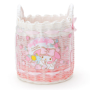 Image 1 - Cute Cartoon Little Twin Stars My Melody Plastic Woven Rattan Storage Basket Cosmetic Sundries Grocery Organizer Basket Bucket
