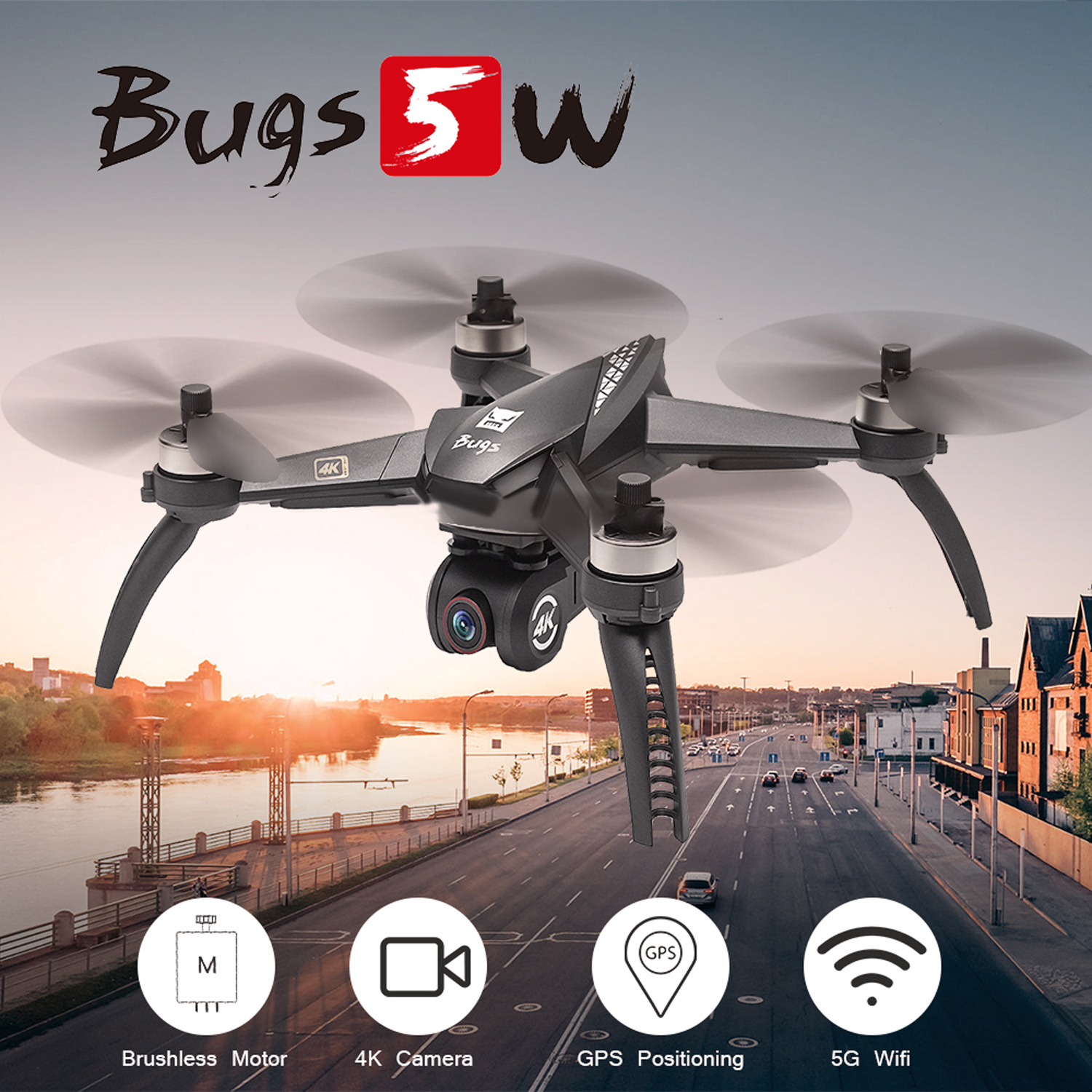 MJX Bugs 5W B5W Professional GPS RC Quadcopter with Camera 4K HD 5G Wifi Gesture Photo Brushless RC Drone VS H501S Pro MJX B4W 1
