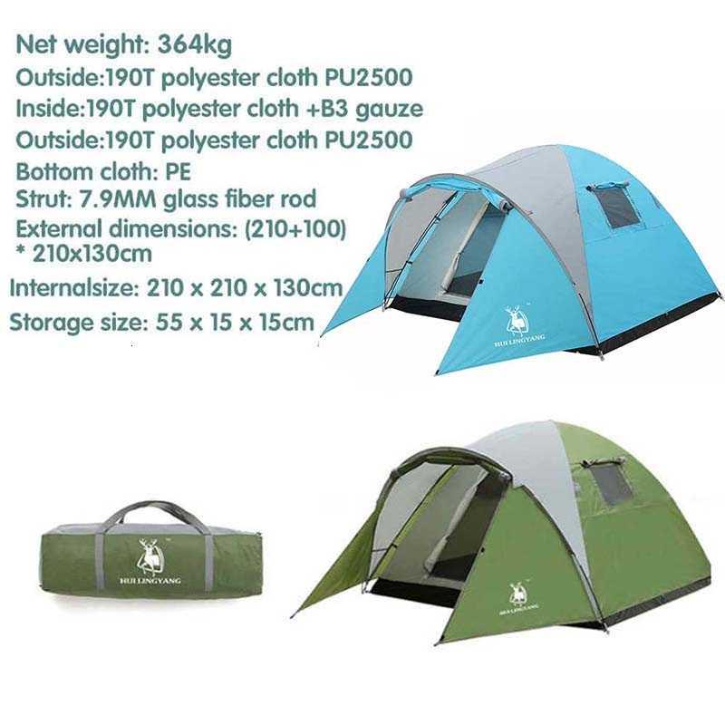 3-4 personne tente extérieure randonnée grand Portable étanche plage voyage Camping tente coupe-vent Camping tente double couche