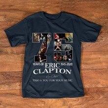 Original 75 anos de eric clapton 1945-2020 camisa de assinatura