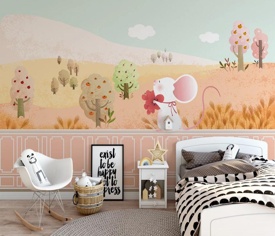 Customized Cartoon Golden Forest Scenery Cute Tree Blue Sky Children's Room Background Wall Painting Wallpaper