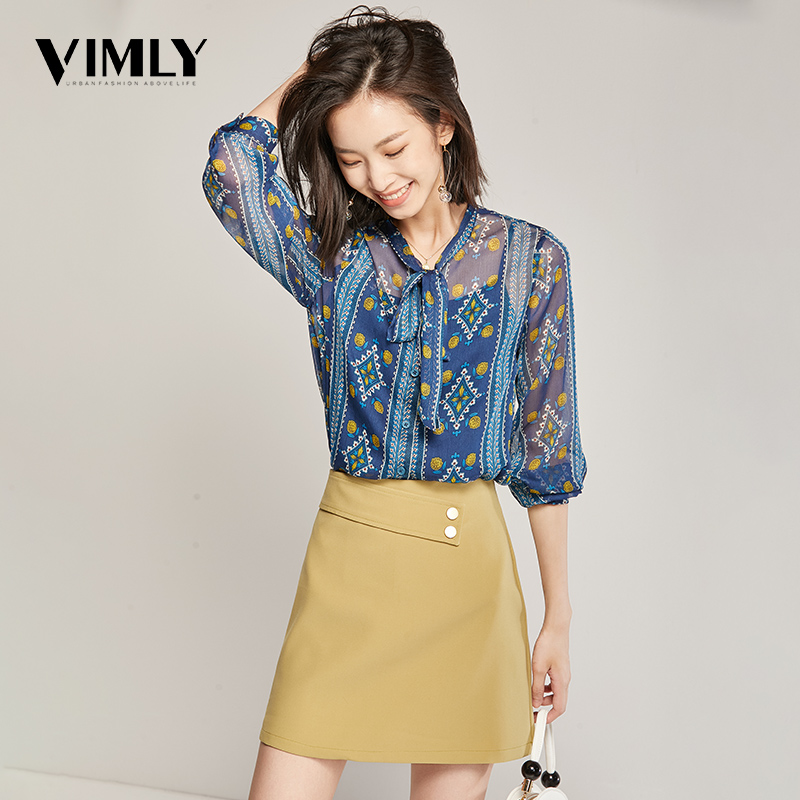 Vimly Women Elegant Chiffon Print Blouse Spring Autumn Ladies Lace Up See Through Shirts Womens Floral Lining Blouses Tops