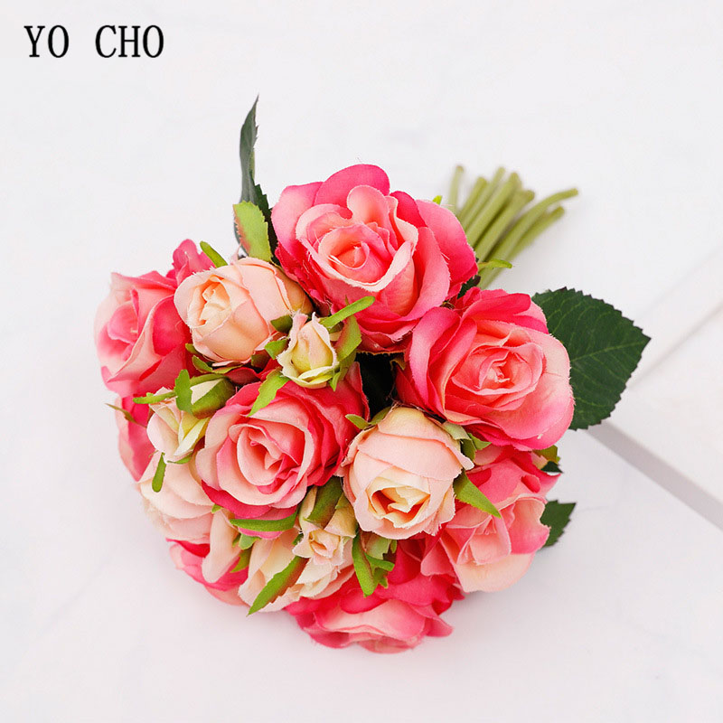 YO CHO 18 Heads Rose Bouquet Artificial Silk Flowers Fake Rose Bridal Wedding Bouquet Bridesmaid Flower Girl Party Home Decor