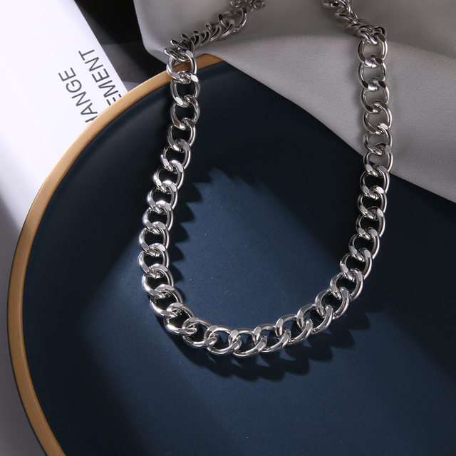 European and American retro portrait of exaggerated thick chain necklace double personality chain hip-hop neck chain short colla 6