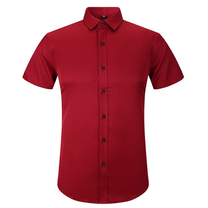 Stretch Bamboo Fiber Men's Summer Short Sleeved Dress Casual Shirt High Quality Male Social Slim Fit White Red Blue Purple Shirt