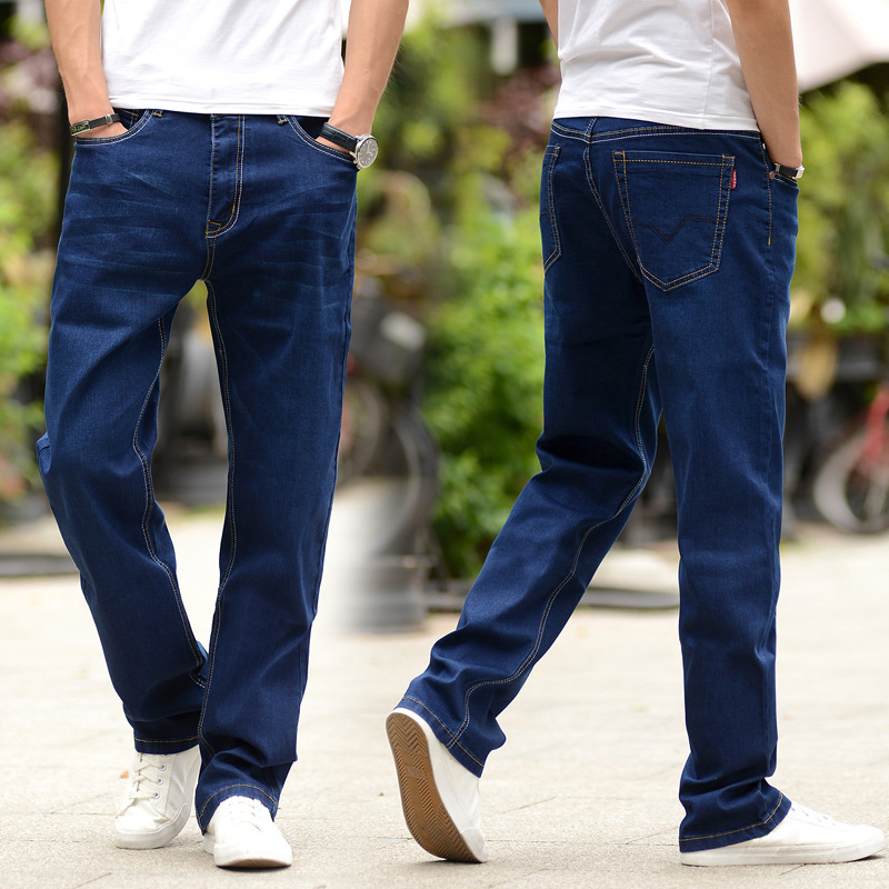 Ultra-stretch Thin Jeans Men's Loose Straight Youth Men Dark Blue Plus-sized Summer Breathable Pants