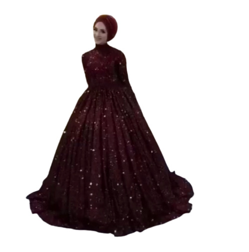 Robe De Mariage Saudi Arabia Long Sleeves Muslim Wedding Dress Red Lace Dubai Bridal Ball Gown Abaya High Applique Wedding Gown