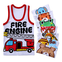 Summer Kids 100%Cotton T Shirts Boys Girls Baby Cartoon Printed Sleeveless Vests Clothes For 2-7 Years Children Clothing Gift CN