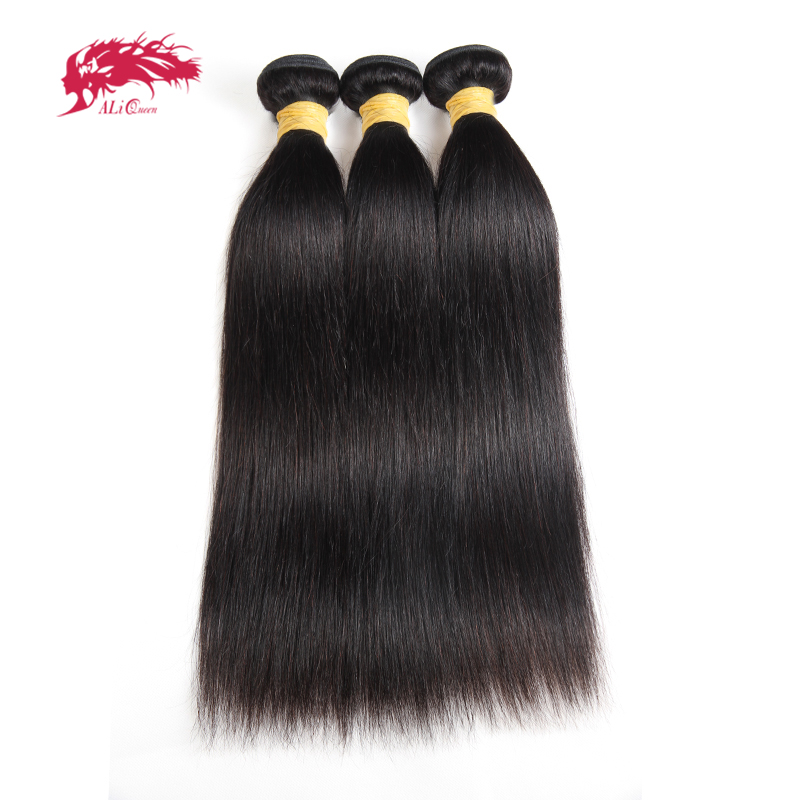 Ali Queen Hair 3pcs Indian Virgin Hair Straight Human Hair Weave Bundles Natural Color 8