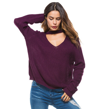 Sexy Deep V-Neck Women Knitted Sweaters Full Sleeve Fashion Autumn Winter Ladies Pullovers Casual Oversized Jumper Pull Femme фото