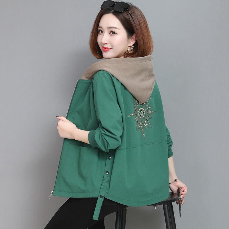 2021 Autumn Women's Coat Hooded Jacket Long Sleeve Zipper Pockets Casual Windbreaker Basic Jackets Outerwear Plus Size 4XL E25