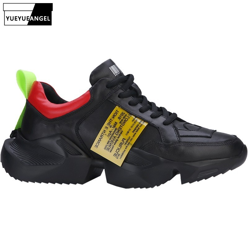 Brand New Men Thick Platform Shoes Genuine Leather Joggers Trainers Height Increasing Lace Up Zapatillas Deportivas Tenis Shoes