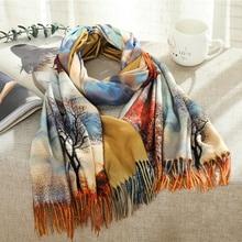 Fashion 3D Oil Painting Cashmere Scarf Women Winter Warm Van Gogh Painting Tassel Scarves Designer Luxury Long Print Wraps Shawl