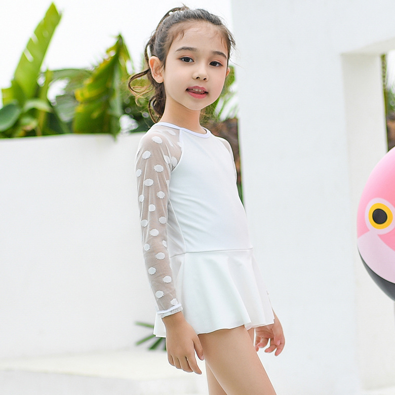 2019 New Style GIRL'S KID'S Swimwear Small CHILDREN'S Baby One-piece Long Sleeve Sun-resistant Quick-Dry Conservative Skirt Boxe