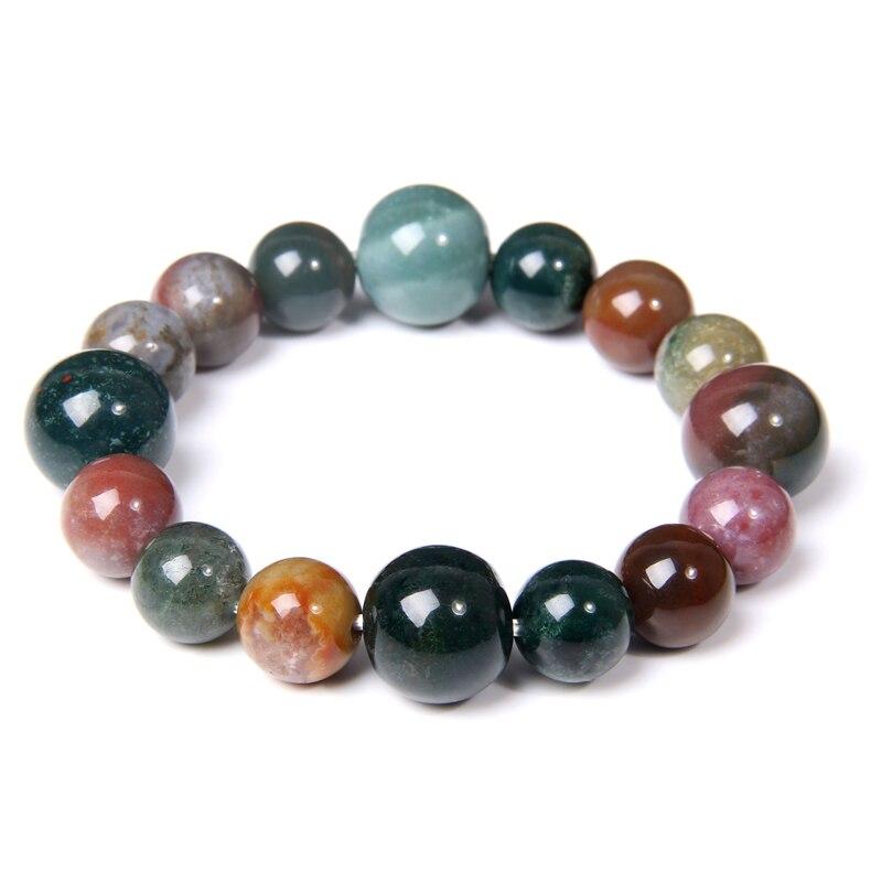 Bracelets en Agates indiennes pour hommes et femmes, bijoux en Pierre naturelle colorée, 14 mm