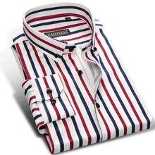 عطلة عادية متعدد الألوان العمودي المشارب قمصان جيب أقل تصميم طويلة الأكمام القياسية صالح زر أسفل قميص الرجال الموضة