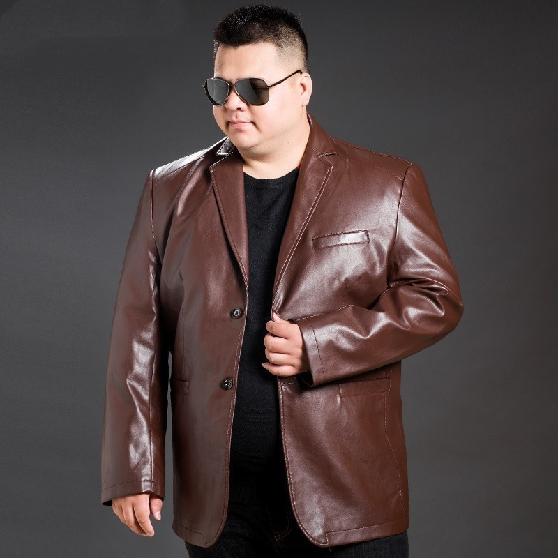New 8XL 7XL 6XL 5XL Coat Increase Plus Size Business Affairs Leisure Time Imitate Skin Leather Clothing Male Jacket