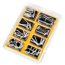 Nuevo 8 unids/set educativos de alambre de Metal rompecabezas mente rompecabezas juego para adultos de los niños juego de niños juguete clásico