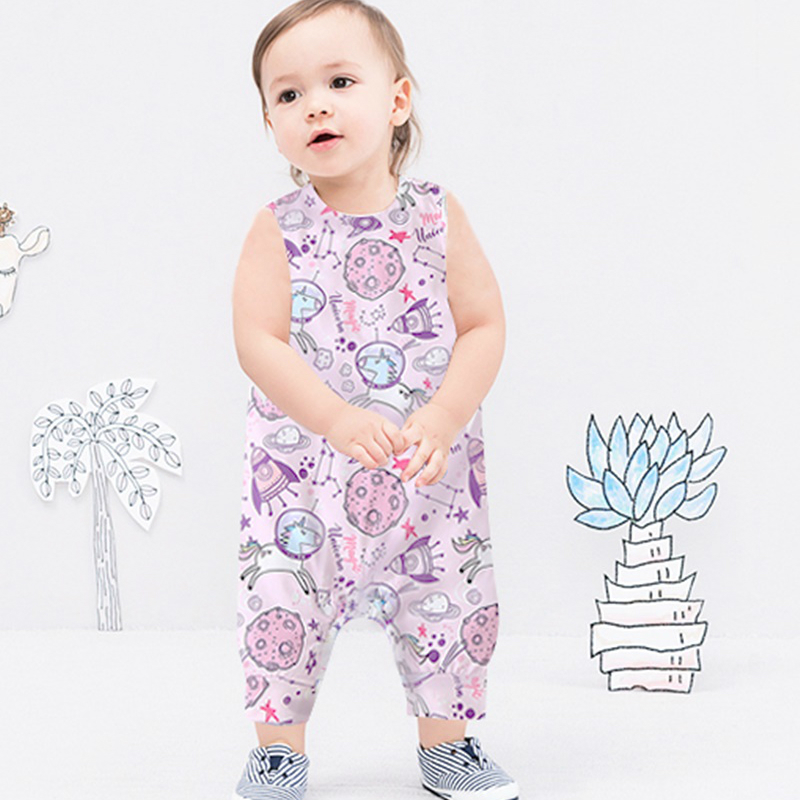 Baby Clothing Newborn Baby Boy Girl Romper Sleeveless Jumpsuit Outfit Clothes Animal Dinosaur Print Color Summer Infant Rompers 5