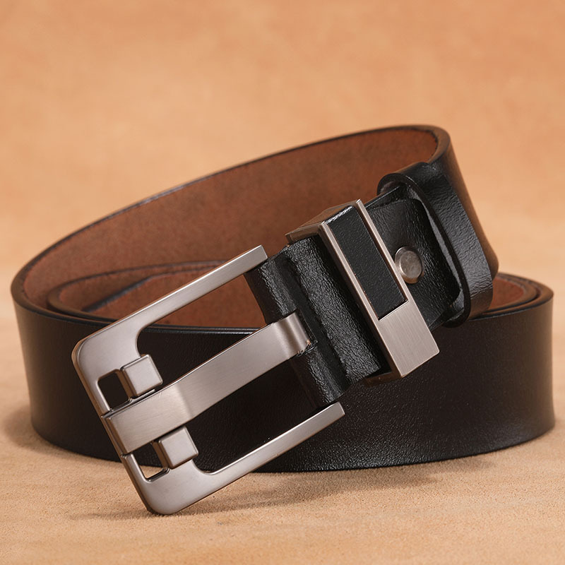 Fashion Men's Belt Needle Buckle Cowhide Leather No Logo Black Belts For Man Retro Casual Extension Big Size 130cm 140cm 150cm