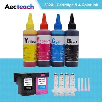 Aecteach for HP 302 XL for hp302 Ink cartridge for hp Deskjet 1110 1111 1112 2130 OfficeJet 5220 5230 printer + 4 Bottle Dye Ink