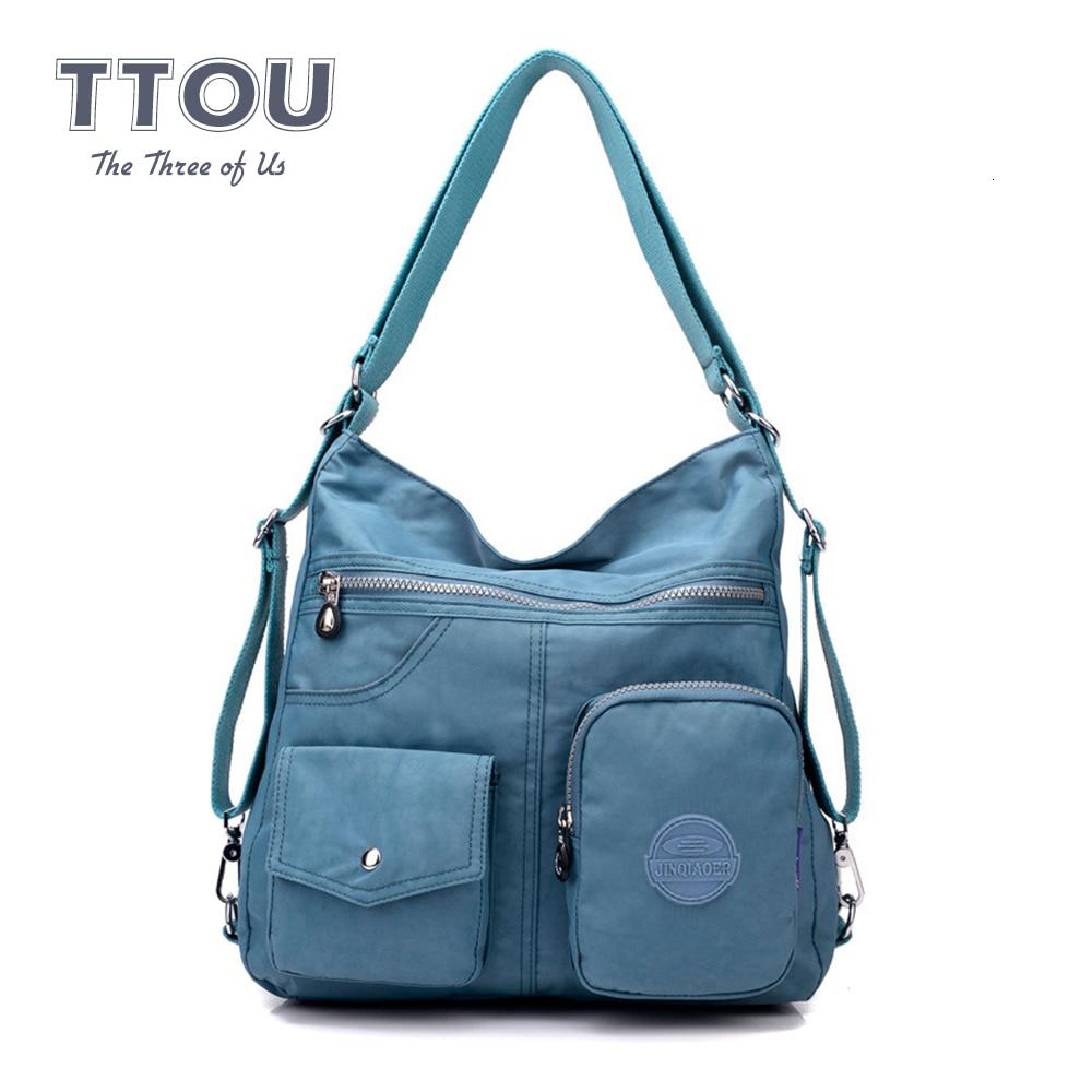 TTOU Fashion Women Waterproof Multi-function Bag Double Shoulder Bag Classic Handbags High Quality Nylon Female Handbag 2019