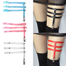 Pu Leather 3 Rowst Leg Garter Belt Women Elastic Straps Adjustable Thigh Harness Punk Gothic Accessories Intimates