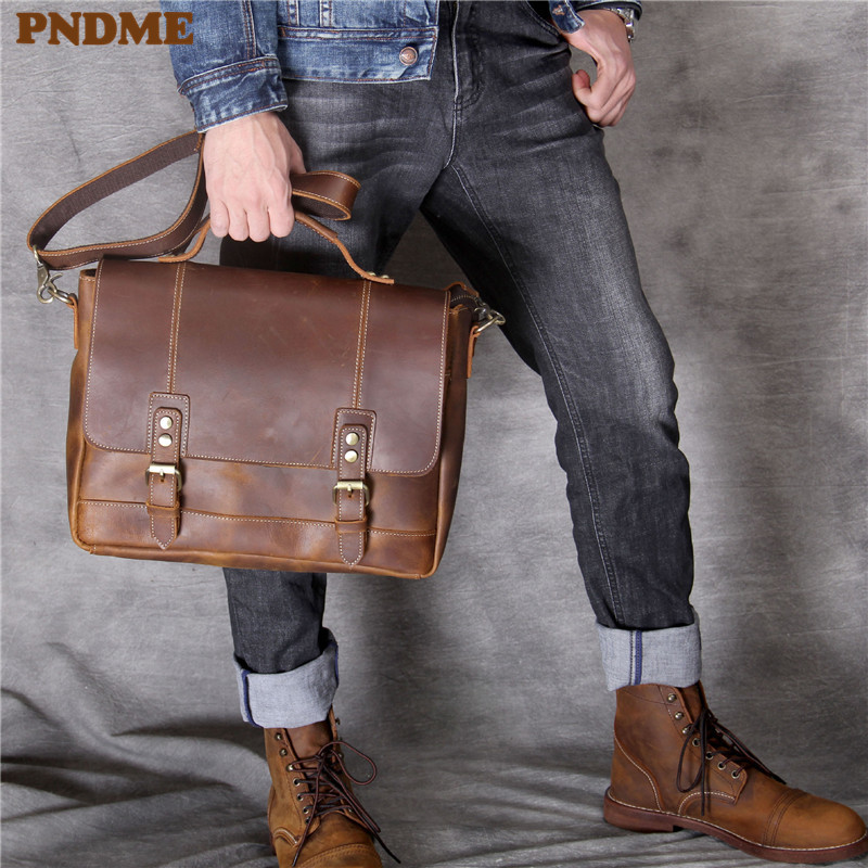 PNDME Vintage Genuine Leather Men's Briefcase Crazy Horse Cowhide Laptop Handbag Satchel Business Brown Shoulder Messenger Bags