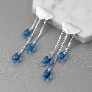 Image 2 - Женские серьги подвески INATURE из стерлингового серебра 925 пробы с синими кристаллами в форме облака, ювелирные изделия