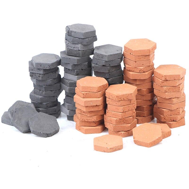 Novo 40 pçs 1/16 escala simulação miniatura hexágono vermelho tijolo modelo de brinquedo mypanda