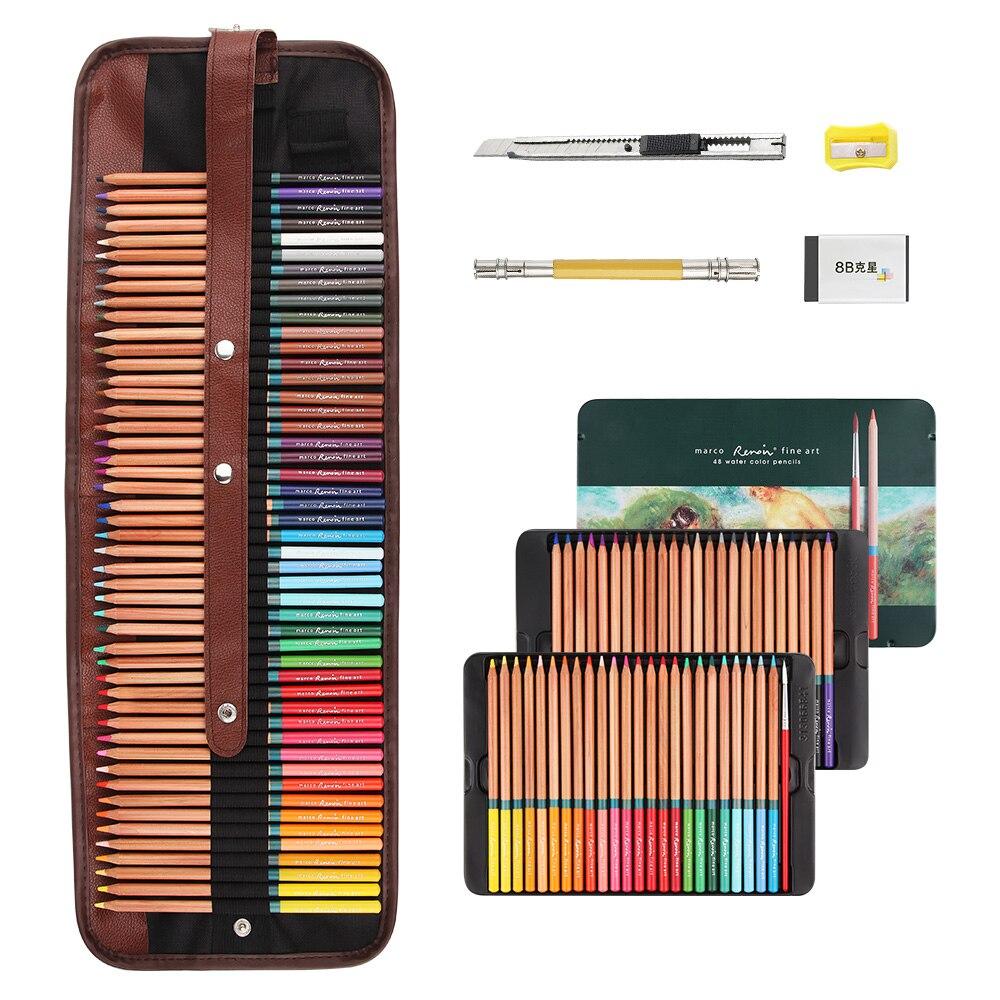Marco-3120 Renoir crayons de couleur Art professionnel peinture crayon 48/72 couleurs ensemble pour dessin aquarelle peinture + pinceau