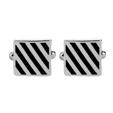 New Simple Style Black Rectangle Cufflinks Mens Shirt Cuff Button Christmas Gifts for Men Silver Plated link gemelos