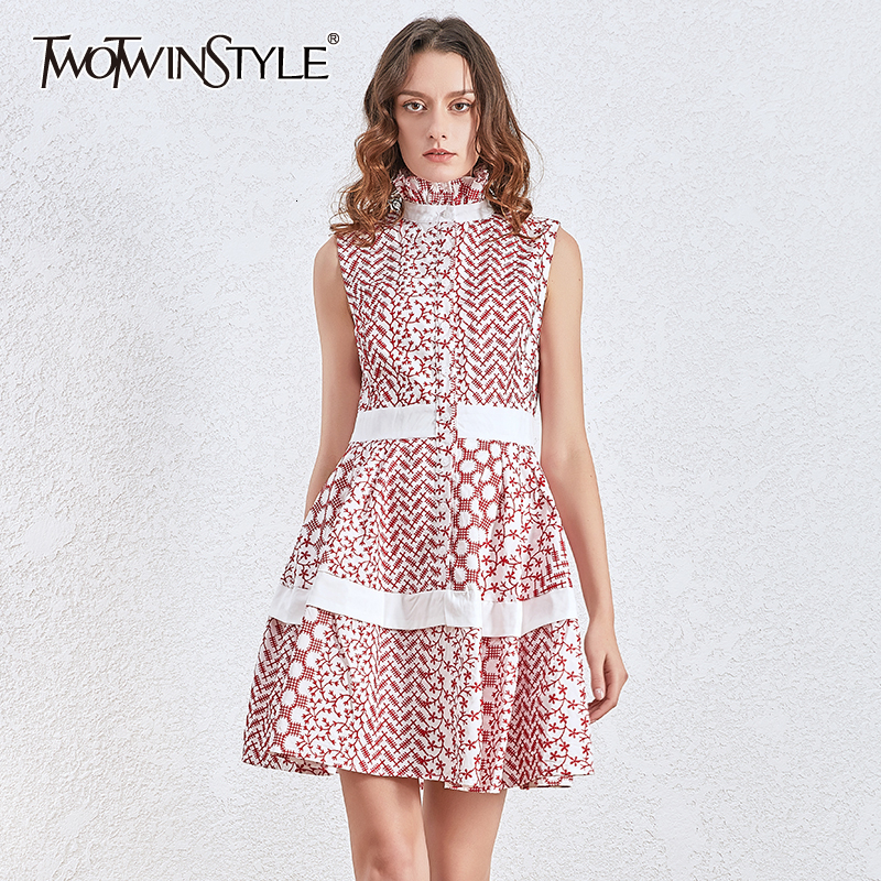 TWOTWINSTYLE Print Hit Color Dresses For Female Turtleneck Sleeveless High Waist Elegant Ruched Dress Women Clothes 2020 Fashion