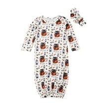 Focusnorm от 0 до 6 месяцев, Детские ночные рубашки на Хэллоуин, для новорожденных, с длинными рукавами, тыква, одеяло облегающее платье, повязка на голову, комплект из 2 предметов, США
