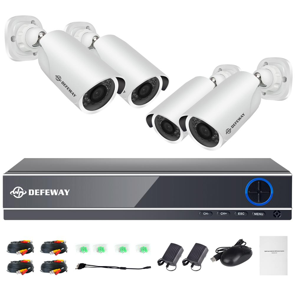DEFEWAY Video Surveillance Kit 4CH DVR Security Camera System Set - Security and Protection