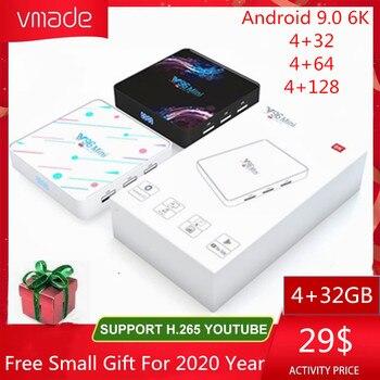 Vmade Newest Mini IPTV Box Allwinner H6 Quad Core Android 9.0 4G+128GB UHD 4K H.265 WIFI 1.5GHZ Google TV Netflix Media Player box tv android child h96 mini h6 quad core h 265 wifi hd tv box built in software youtube 4k media player smart tv iptv boxes