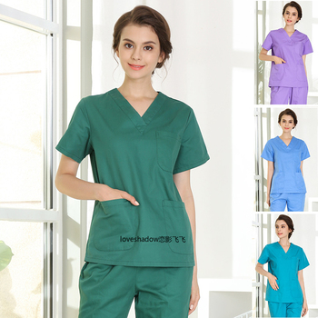 Plug Size S-4XL Medical Uniforms Hospital Doctor Short Sleeve Scrub TOP Dental Clinic Beauty Workwear Cotton Nursing Cclthing цена 2017
