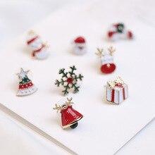 2019 New Santa Claus Christmas Earrings Snowman fashion Deer Bell hat Tree Single Jewelry Accessories