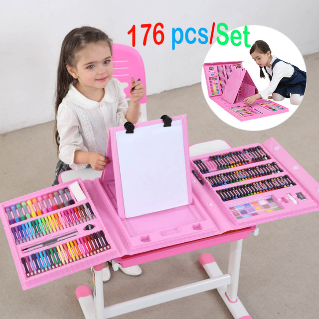 176PCS Colored Pencil Artist Drawing set Painting Graffiti Brush Crayon Marker Pen kids Gift Daliy Entertainment Toy Art Sets