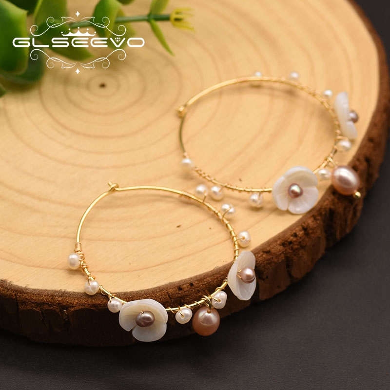 Купить glseevo натуральный пресноводный белый жемчуг серьги кольца