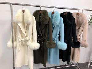 Image 3 - OFTBUY 2020 Real Fur Coat Winter Jacket Women Natural Fox Fur Collar Cashmere Wool Blends Long Outerwear Ladies Streetwear
