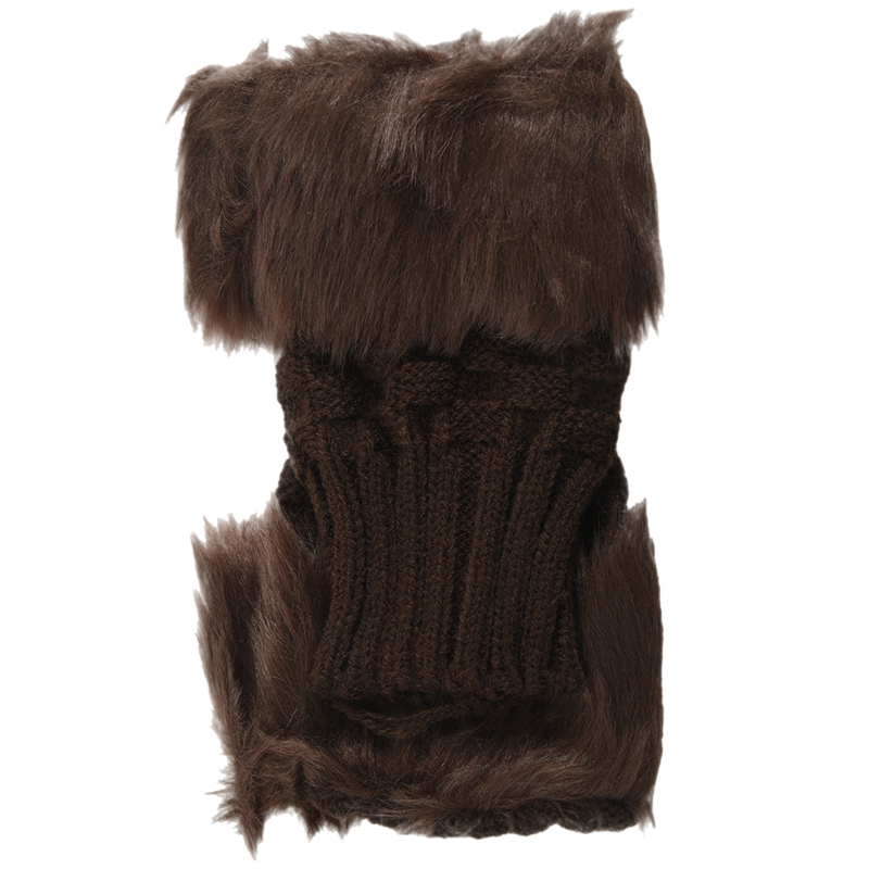 Lady Girl Shaggy Faux Fur Knit Fluffy Hands/LEG Warmers Ankle Boot Covers Gloves - Brown
