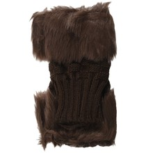 Lady Girl Shaggy Faux Fur Knit Fluffy Hands/LEG Warmers Ankle Boot Covers Gloves - Brown(China)