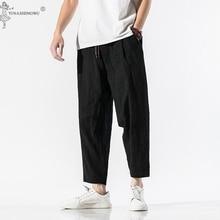 Costume Asian Japanese-Style Pants Trousers Crane Linen Haori Samurai Harajuku Plus-Size