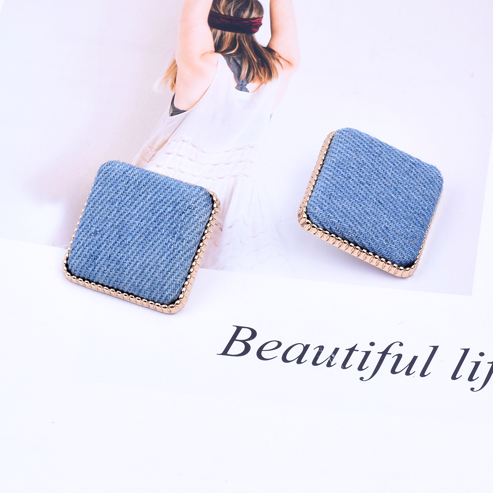 New Fashion Women's Denim Square Stud Earrings with Alloy Jewelry Statement 2019 Gold Earrings